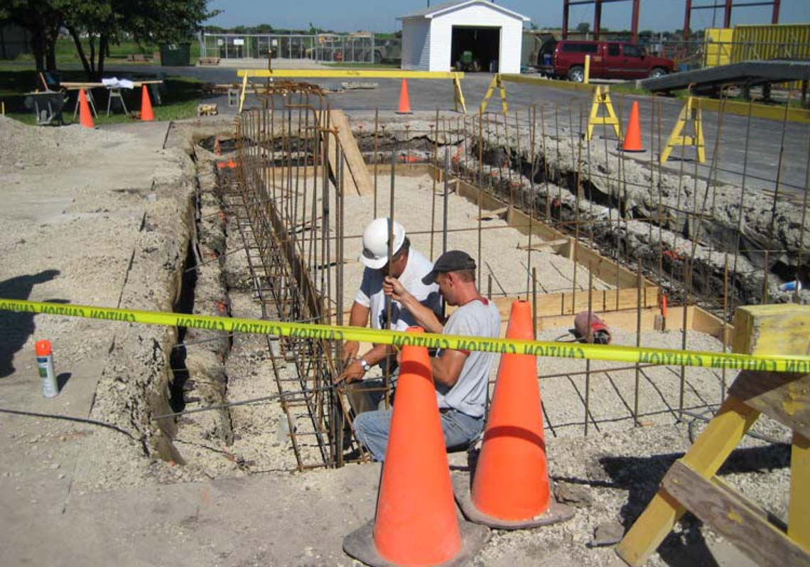 SKS Engineers project: Decatur, IL Armory - loading ramp structural foundation design engineering
